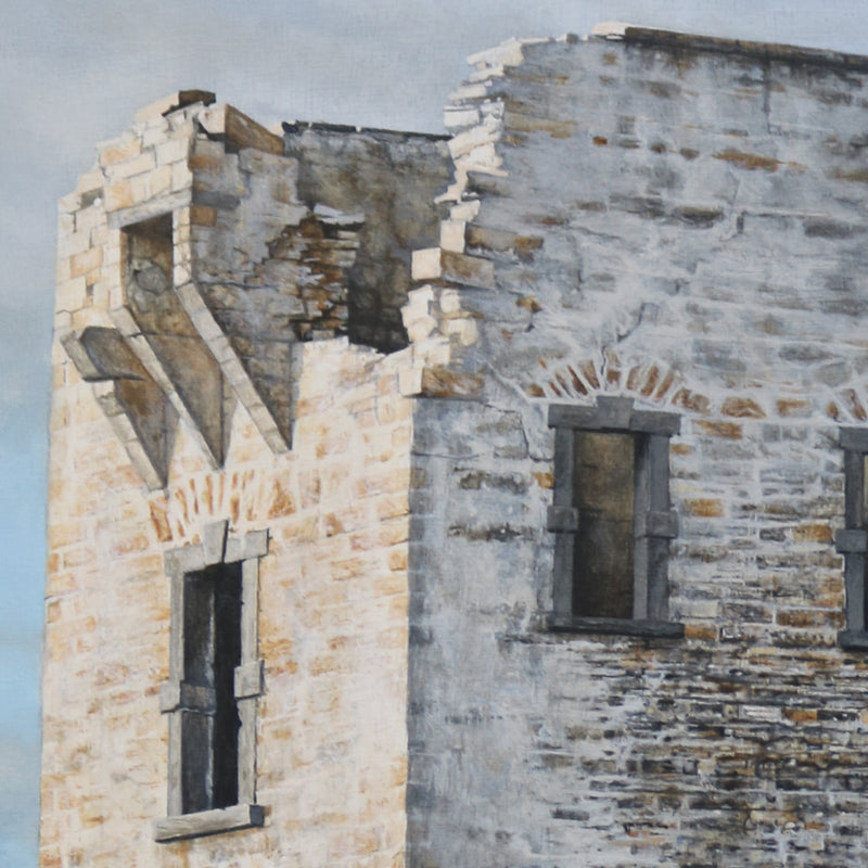 Detail of the Napoleon tower - Admire the detail of the different red, grey and white stones with the sun shining on one side. Photo realistic rendition of a fine building lost in the Donegal landscape.