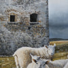 Further detail of the Napoleon watch tower with stormy clouds on the horizon and sheep at the forefront