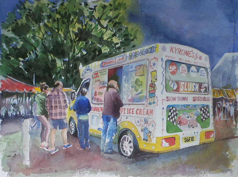 "Thomas McNeill - ""Everything tastes better with Icecream"" - Watercolour"