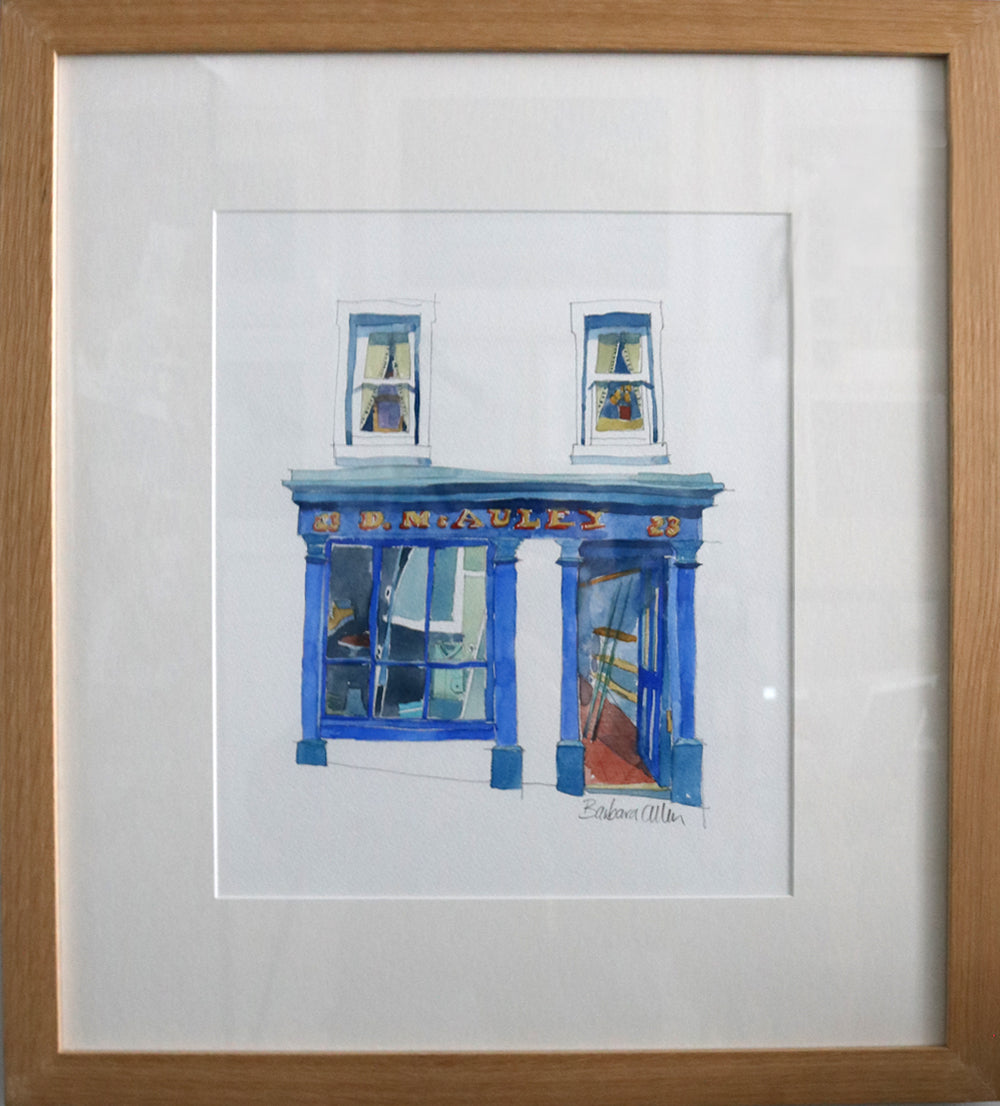 Fishing & Tackle Shop, McAuley's, Ballycastle, Causeway Coast, Watercolour by Barbara Allen