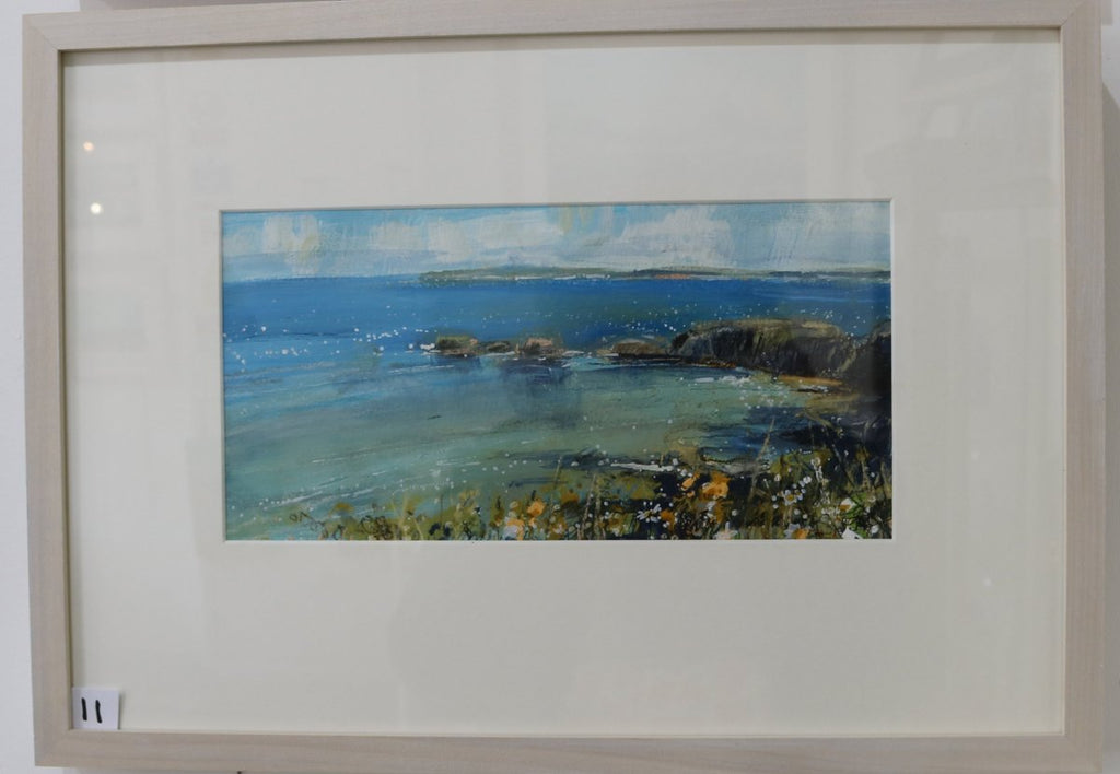 Framed image of Sarah Carrington's painting of the green sea over to Rathlin, a Northern Ireland scenery near the Giant's Causeway