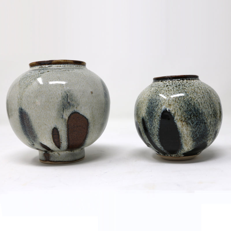 Mini Moon Jar - Grey Flames - by Claire Murdock