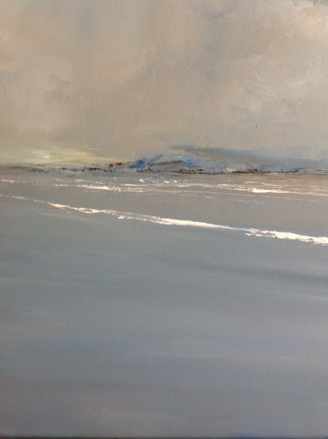 A beautiful calm sea, a soothing abstract landscape painting with a hint of sunshine breaking through the clouds on the horizon. A great addition to our art gallery based in Ballycastle, Northern Ireland