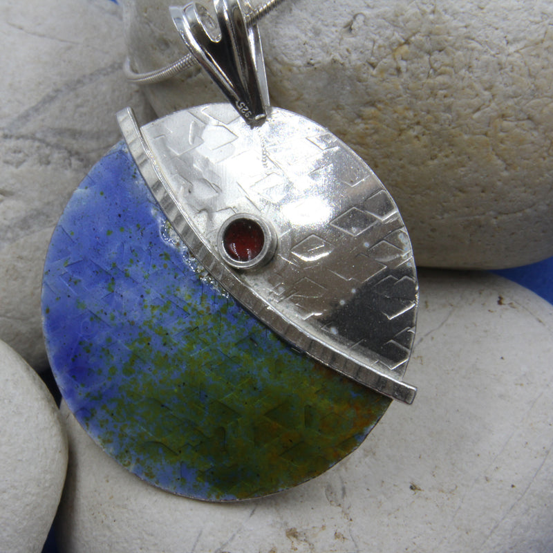 Blue Green Enamelled Sterling Silver Designer Necklace by Robert Spotten