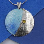 Large Turquoise, Yellow, Blue Enamelled Sterling Silver Pendant by Robert Spotten