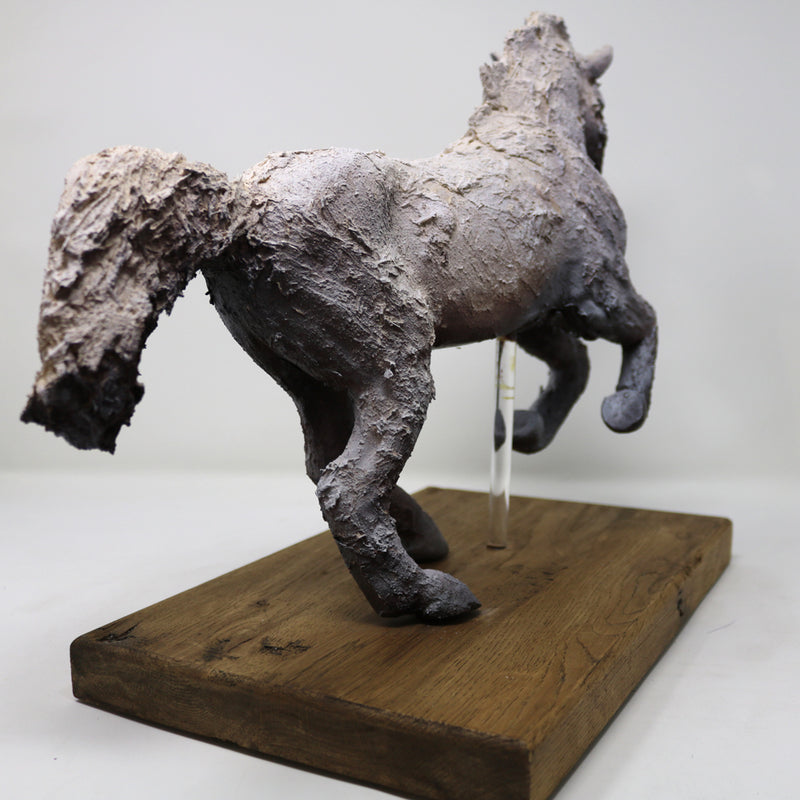 Leaping Horse - Ceramic Sculpture on a Wooden Plinth by Sharon Regan