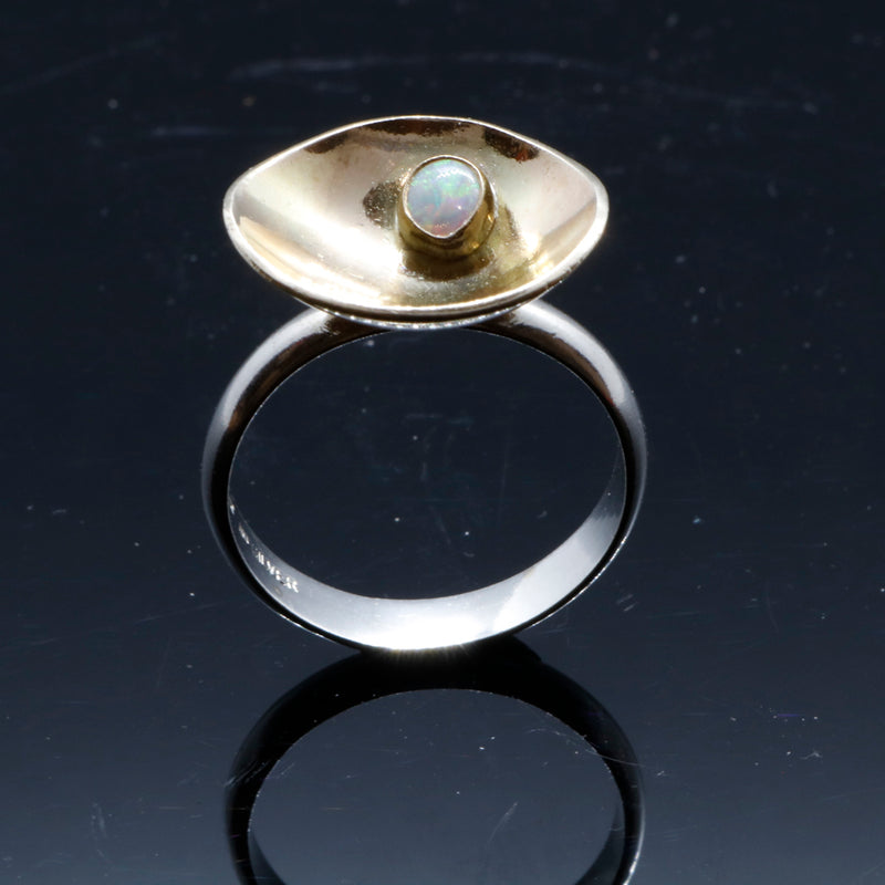 Unique Sterling silver and gold ring with opal, ideal gift for Christmas or anniversary gift. A beautiful ring inspired by nature.