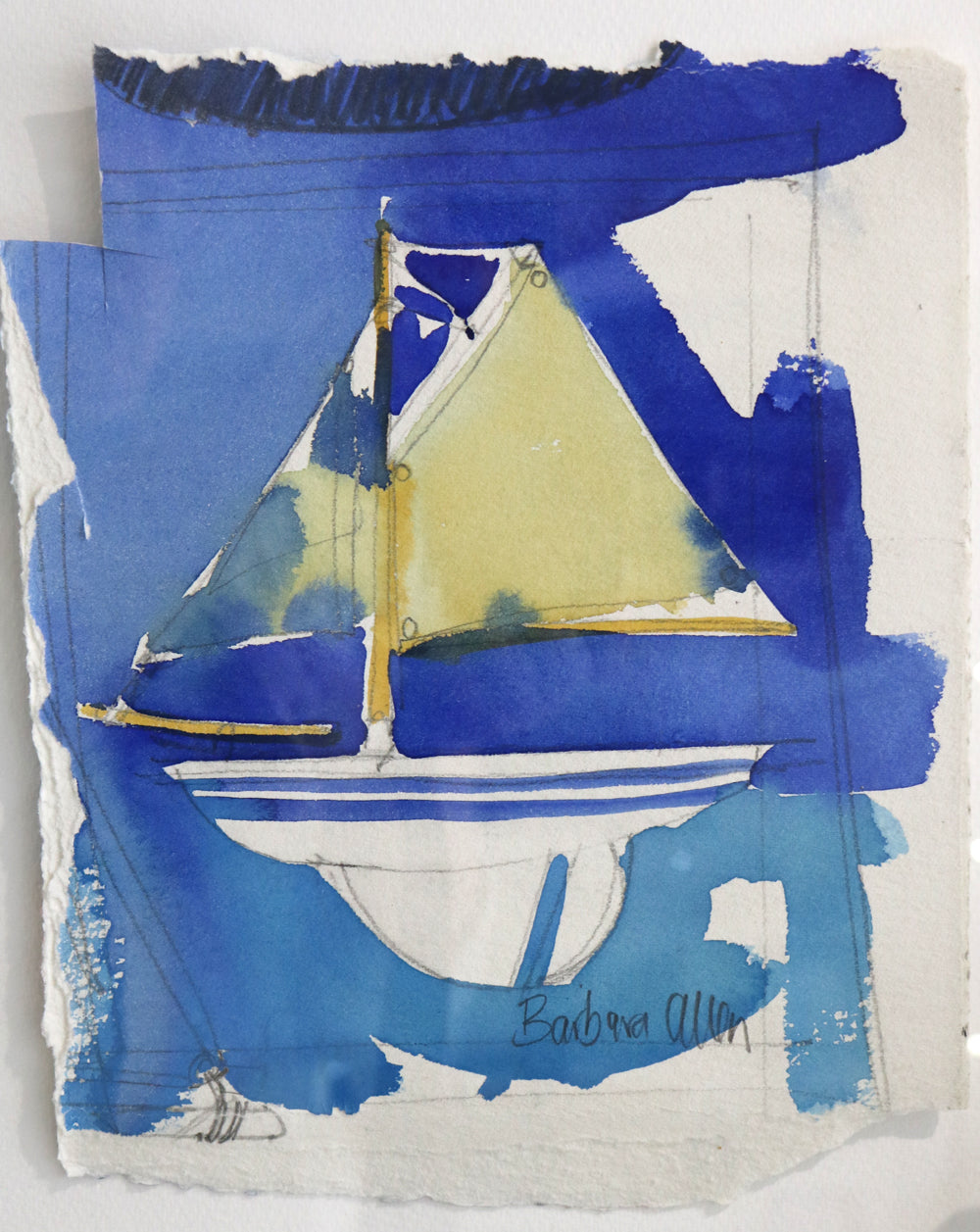 Barbara Allen - Pond Yacht - Watercolour