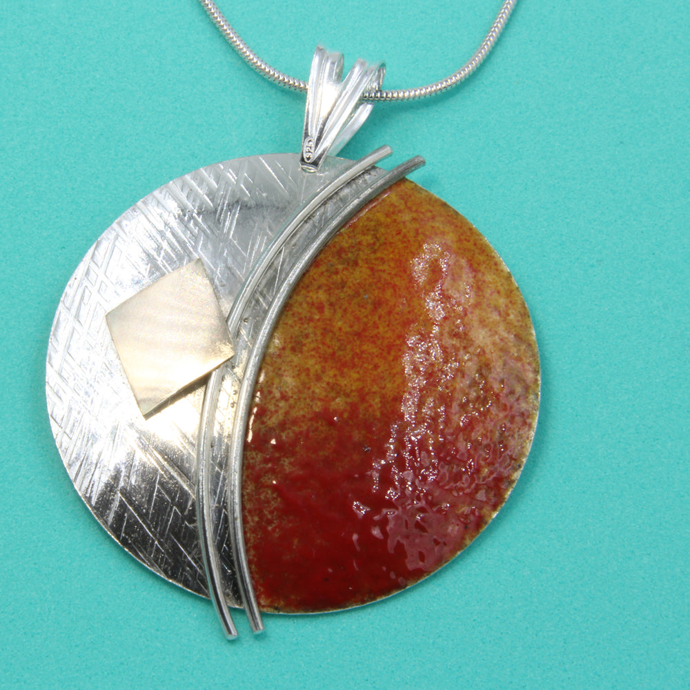 Large Orange Red, Enamelled Sterling Silver Pendant with Gold by Robert Spotten
