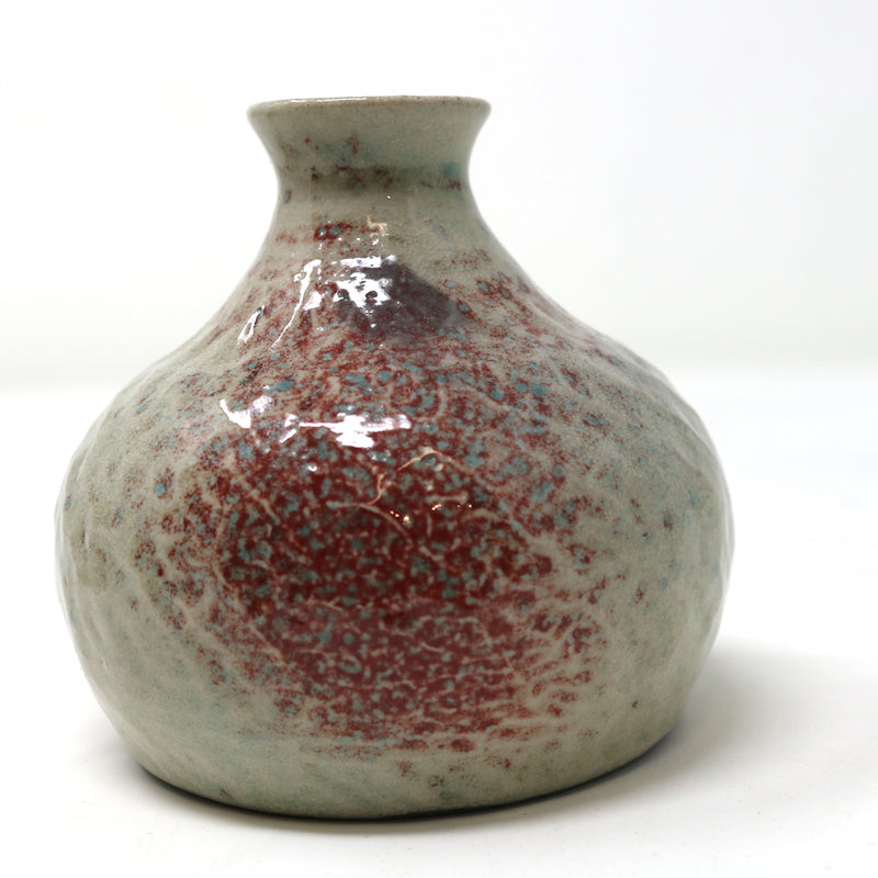 Small Narrow Neck cream and red Ceramic Vase by Alan McCluney