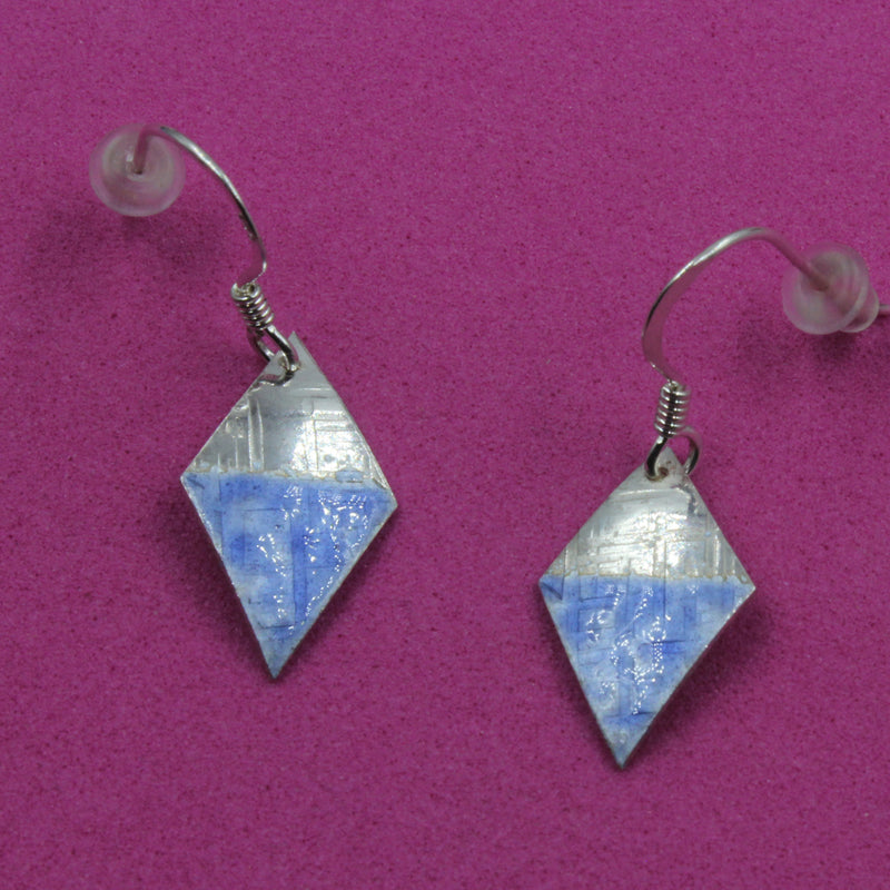 Sterling silver Enamelled Mini Earrings (diamond shape) - blue or green