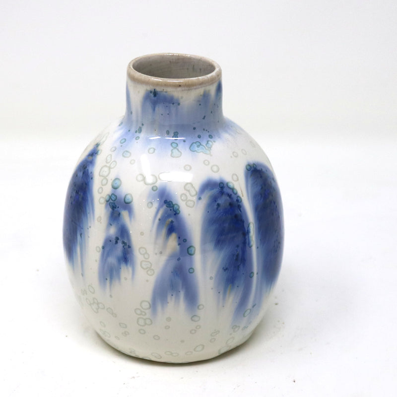 Small Narrow Neck Grey and Blue Ceramic Vase I by Alan McCluney