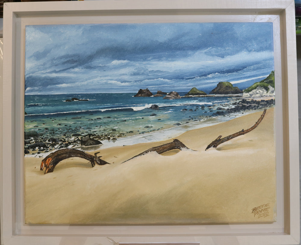 Solitude - Whitepark Bay looking over to Ballintoy, an Irish Landscape Oil Painting by Bertie Pennie
