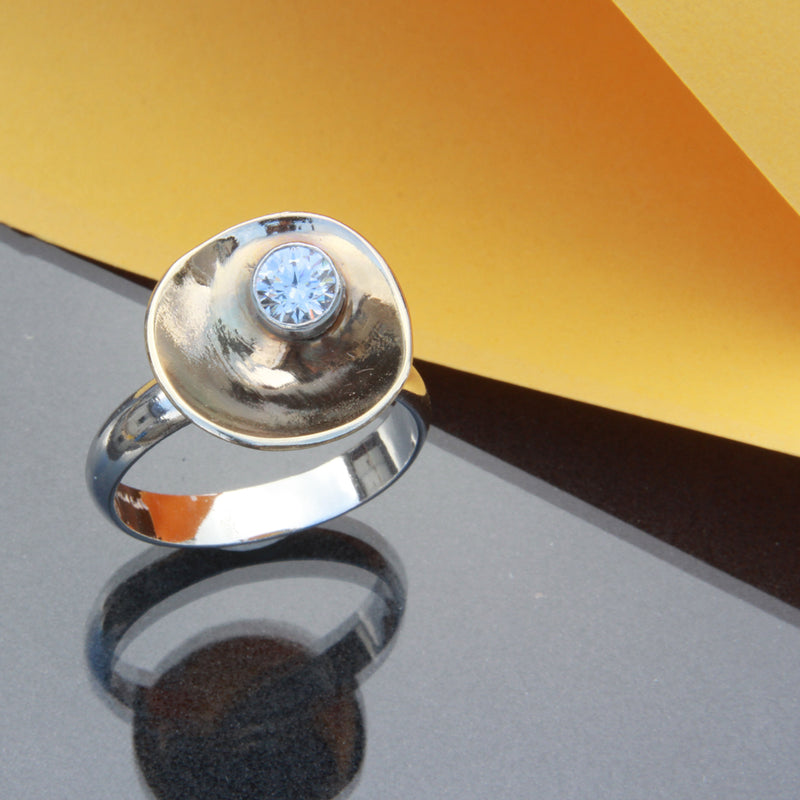 Dew on Buttercup ring - Unique White and Yellow Gold Ring with diamond by Robert Spotten