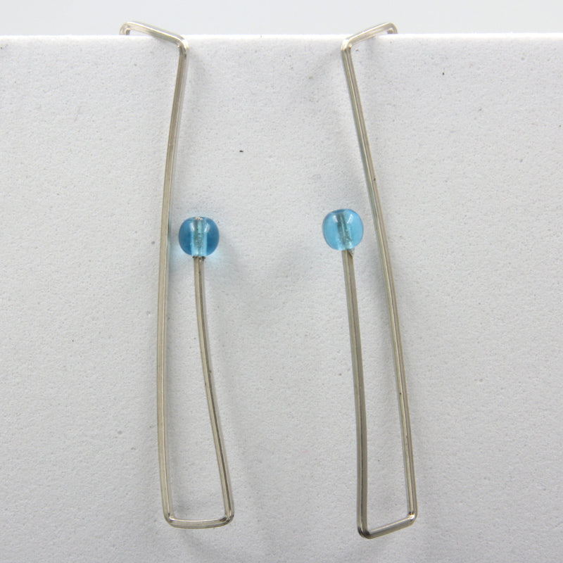 Sterling silver Wire Earrings with Glass Bead - blue or green