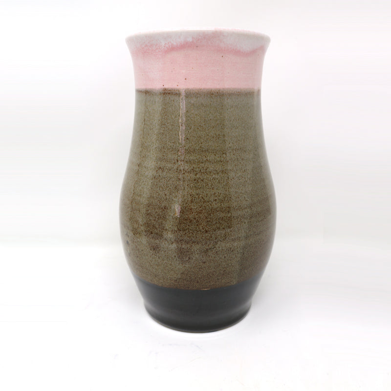 Ceramic light and dark brown tall vase by Claire Murdock