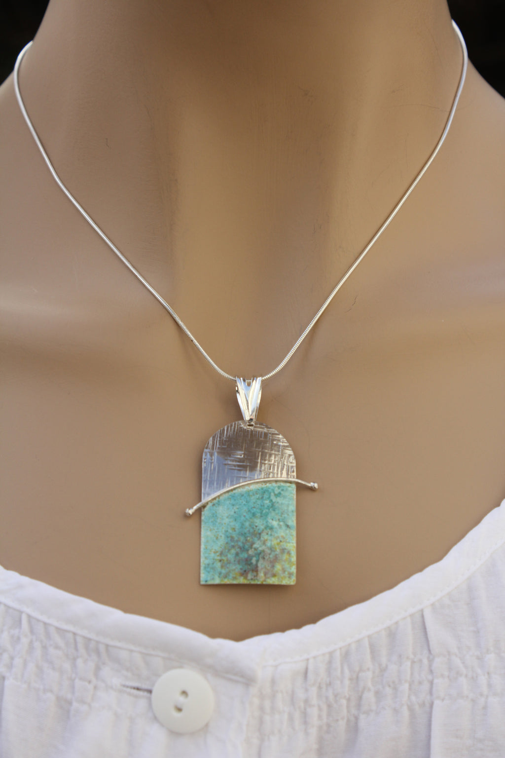 Turquoise, Yellow, Green Enamelled Sterling Silver Pendant by Robert Spotten