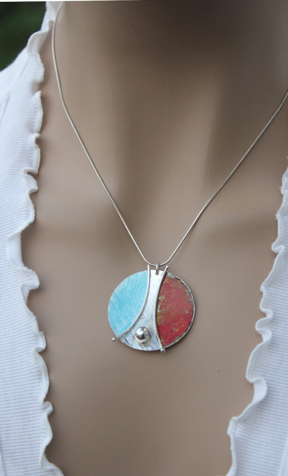 Blue Yellow Red Enamelled Sterling Silver Designer Necklace by Robert Spotten