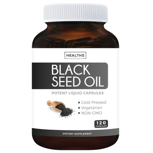 Black Seed Oil Softgel Capsules (NON-GMO & Vegetarian) Made from Cold Pressed Nigella Sativa Producing Pure Black Cumin Seed Oil - Made in the USA - 120 Capsules (500mg each)