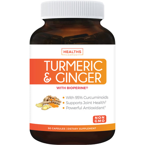Healths Harmony Turmeric Curcumin with Bioperine & Ginger (Non-GMO & Vegan) for Pain Relief and Joint Support 95% Curcuminoids Black Pepper Extract 90 Capsules Supplement No Pills