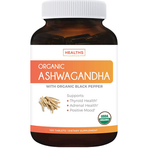Organic Ashwagandha (120 Tablets & Vegetarian) 1350mg Per Serve with Black Pepper - Natural Anxiety Relief, Immune Support, Adrenal Support, Cortisol & Thyroid Support - No Pills or Capsules
