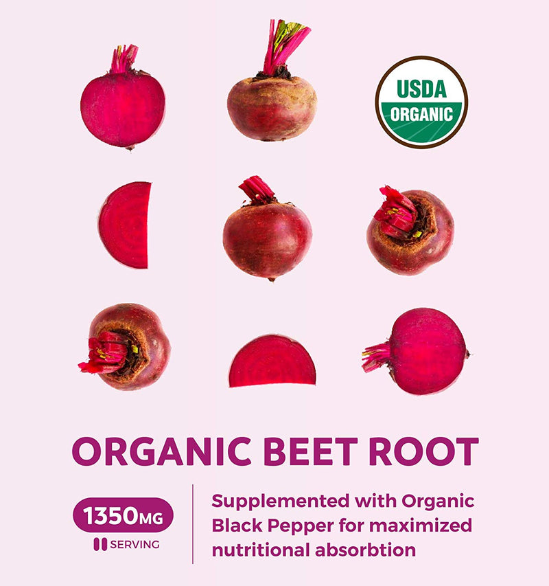 Healths Harmony Organic Beet Root Powder (120 Tablets) 1350mg Beets Per Serving with Black Pepper for Extra Absorption - Nitrate Supplement for Circulation, Heart Health, Super Athletic Performance - No Capsules
