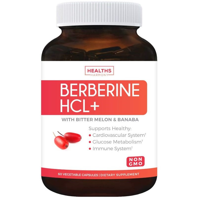 Berberine HCL 500mg (Non-GMO & Vegetarian) Plus Bitter Melon & Banaba Leaf - Blood Sugar Support Supplement & AMPK Metabolic Activator - 60 Capsules - No Pills