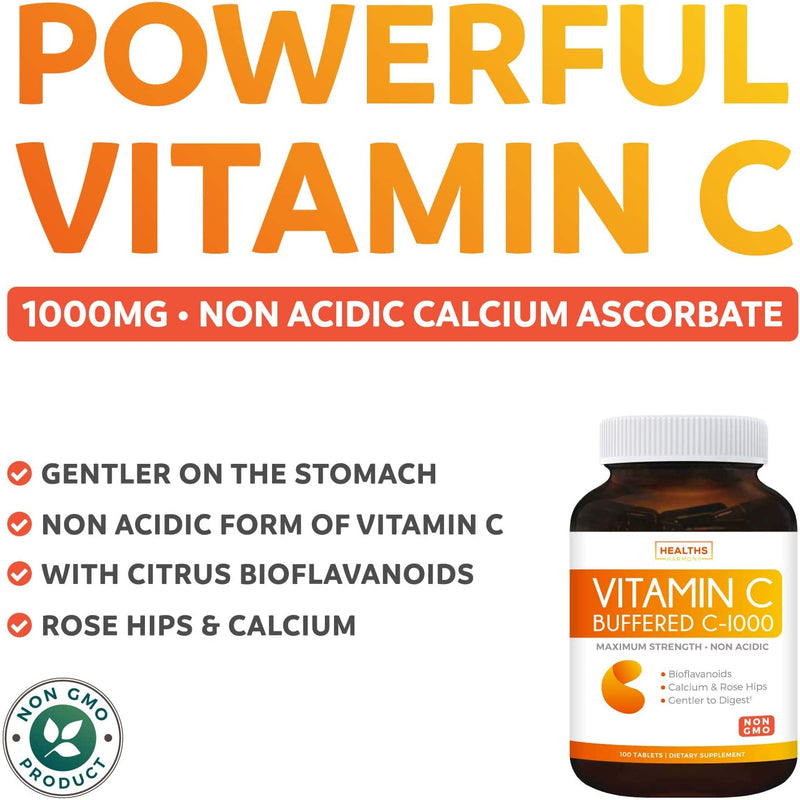 Buffered Vitamin C 1000mg Immune Support (Non-GMO) - Immune Booster for Adults - Immune System Support Supplement with Vitamin C, Calcium, Rose Hips & Citrus Bioflavonoids - 100 Tablets