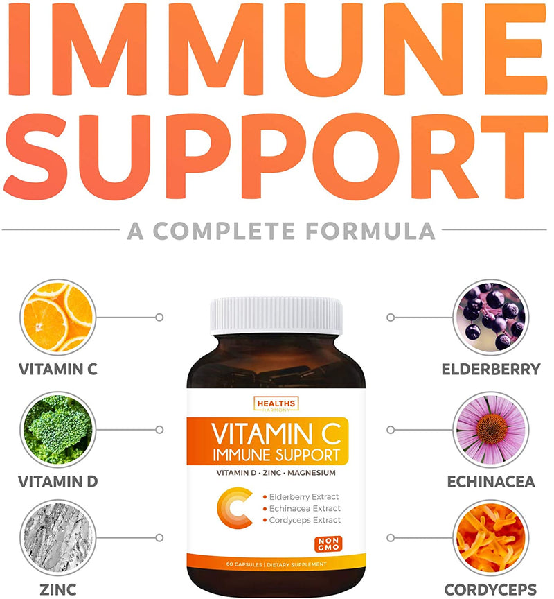 Vitamin C Immune Support (Non-GMO) Immune Booster Supplement with VIT C 500mg, Vitamin D, Zinc, Magnesium, Elderberry, Echinacea, & Cordyceps - 60 Vegetarian Capsules (No Pills, Tablets, or Gummies)