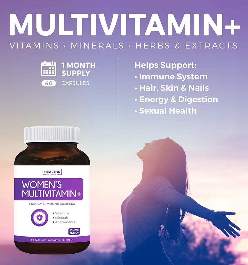 Healths Harmony Women's Multivitamin + (NON-GMO) Daily Vitamins & Minerals Plus Energy Boost, Hair, Eye Health & Antioxidants: Biotin, Zinc, Lutein - Tablet For Women 60 Capsules
