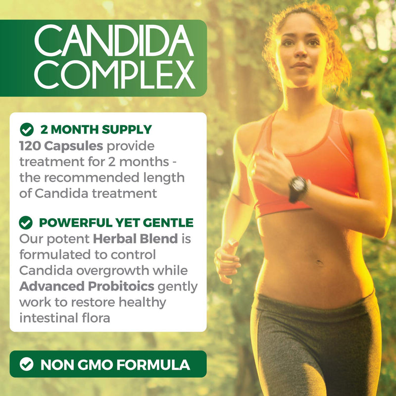 Candida Cleanse (NON-GMO) 120 Capsules - Powerful Yeast Infection Treatment with Caprylic Acid, Oregano Oil & Probiotics to Clear Candida while Preventing Reoccurrence