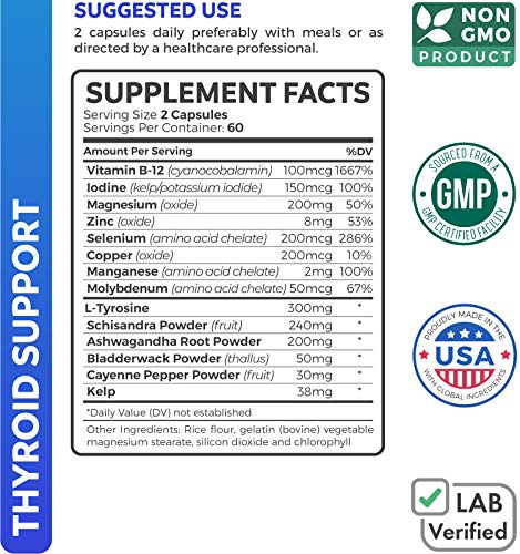 Healths Harmony Thyroid Support Supplement - 120 Capsules (Non-GMO) Improve Your Energy & Increase Metabolism for Weight Loss - with Iodine & Ashwagandha Root for Thyroid Health