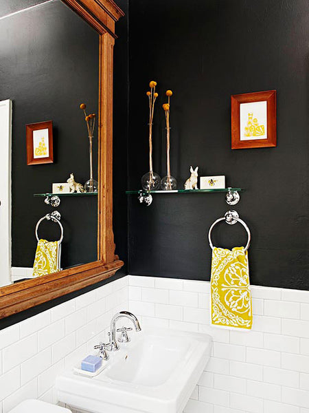 dark bathroom walls / white subway tile