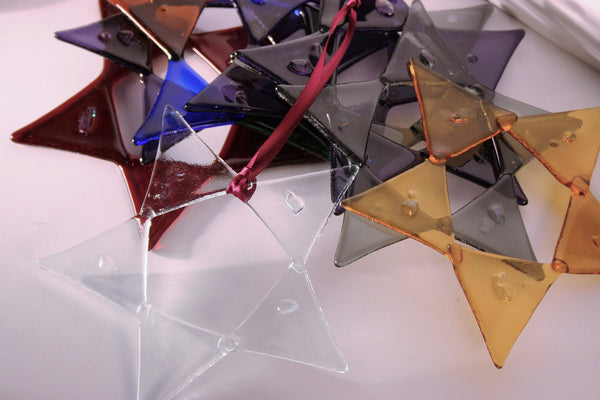 fused glass triangle star ornaments