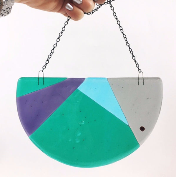 color block geometric hanging glass modern decor