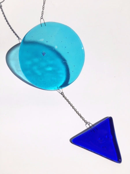 Blue Moon Circle / Blue Triangle Arrow / Glass Contemporary Mobile