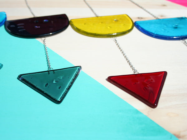 multicolored geometric fused glass mobiles
