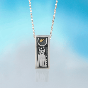 Mindfulness Pendant Necklace Cat dreaming of goldfish| Alan Ardiff at Painted Earth