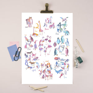animal numbers 1-10 A3 poster