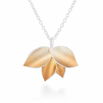 Autumnal leaves pendant silver with rose gold Jill Graham Necklace