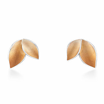 Autumnal leaves small stud earrings with rose gold Jill Graham