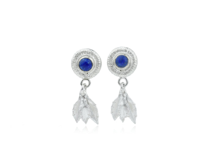Lapis and Silver Leaf Dangles