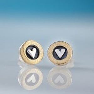 Silver heart with golden circle stud earrings