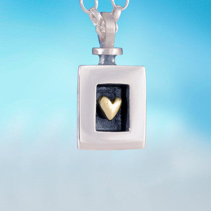 Golden Heart in Silver Frame Pendant