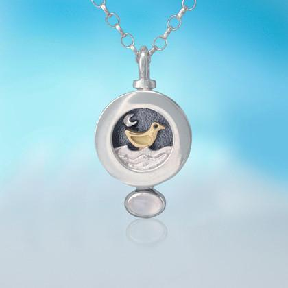 Silver and Gold Moondance bird necklace | Alan Ardiff at Painted Earth