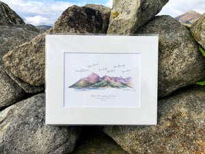 Mourne Mountains | Percy French Quote | Illustration Print