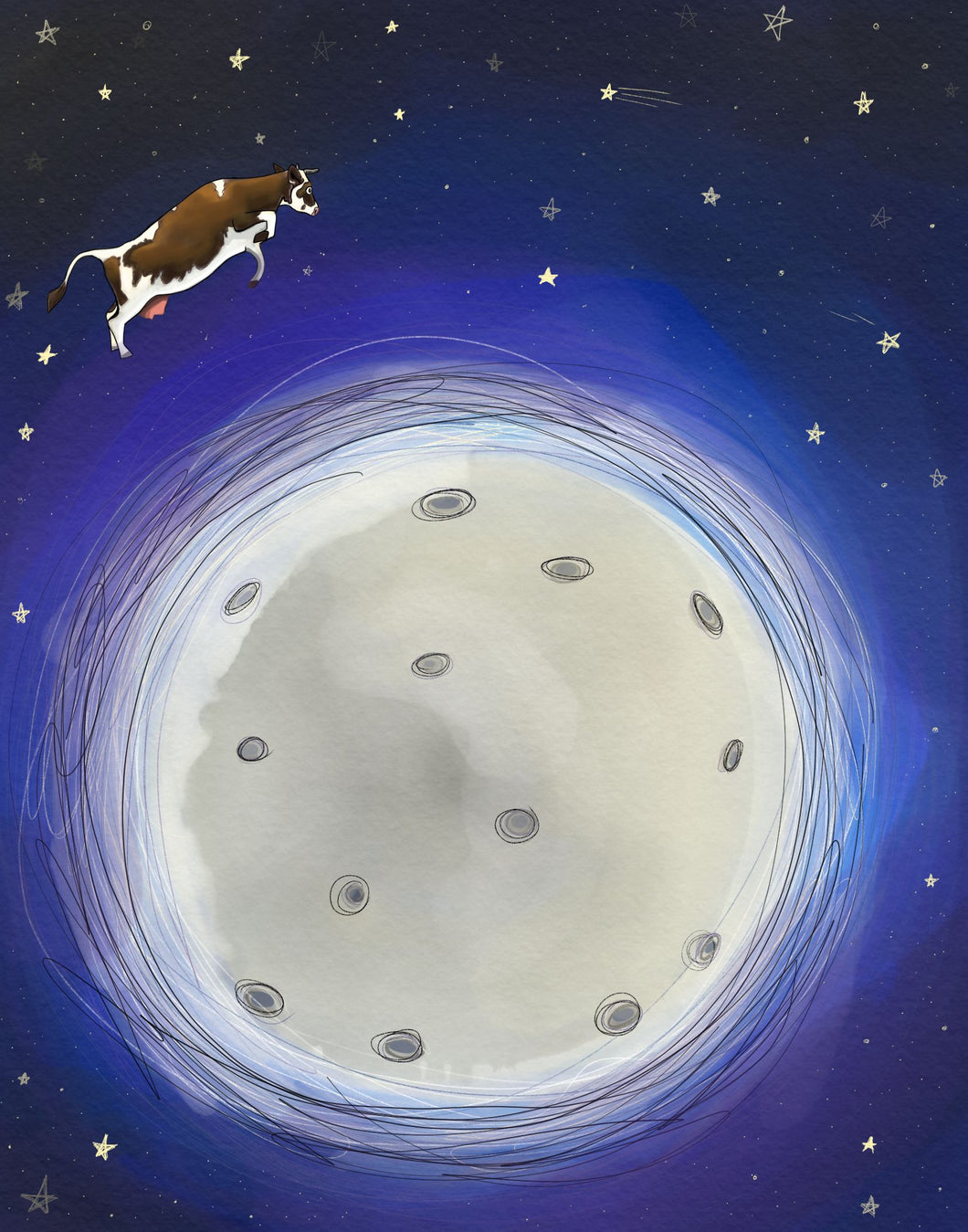Cow Over Moon Print