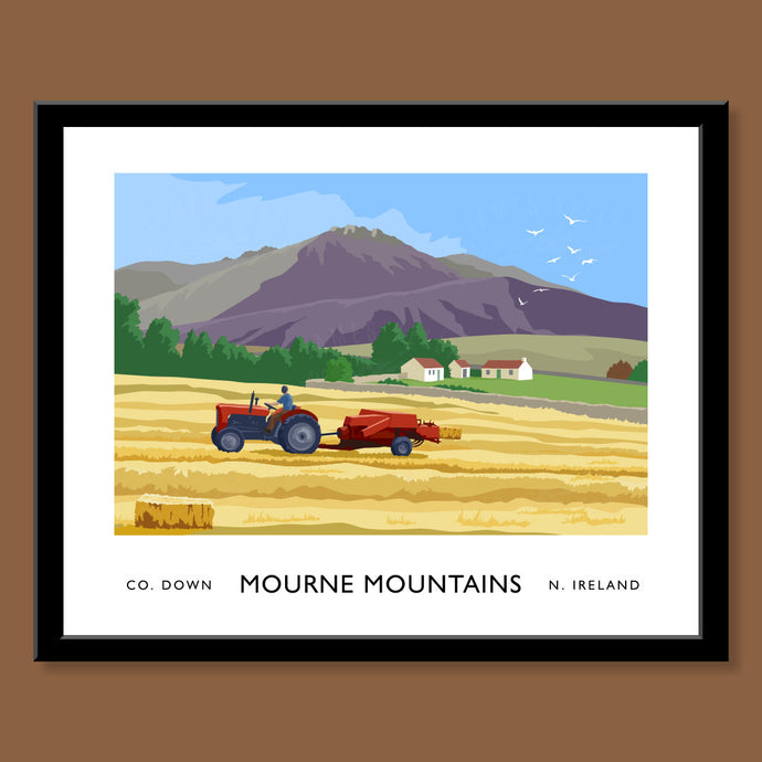 Mourne Mountains, Tractor and Hay Baler - Print