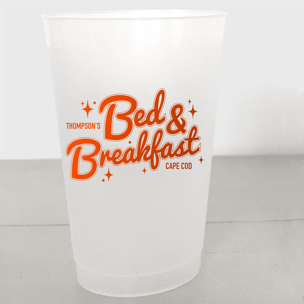 Personalized Retro Shatterproof Cups, Bed & Breakfast  style