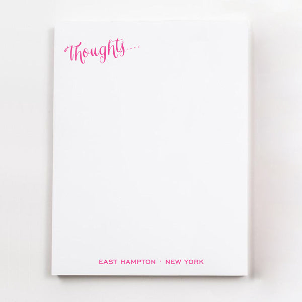 Thoughts.... personalized guest room note pages in hot pink ink